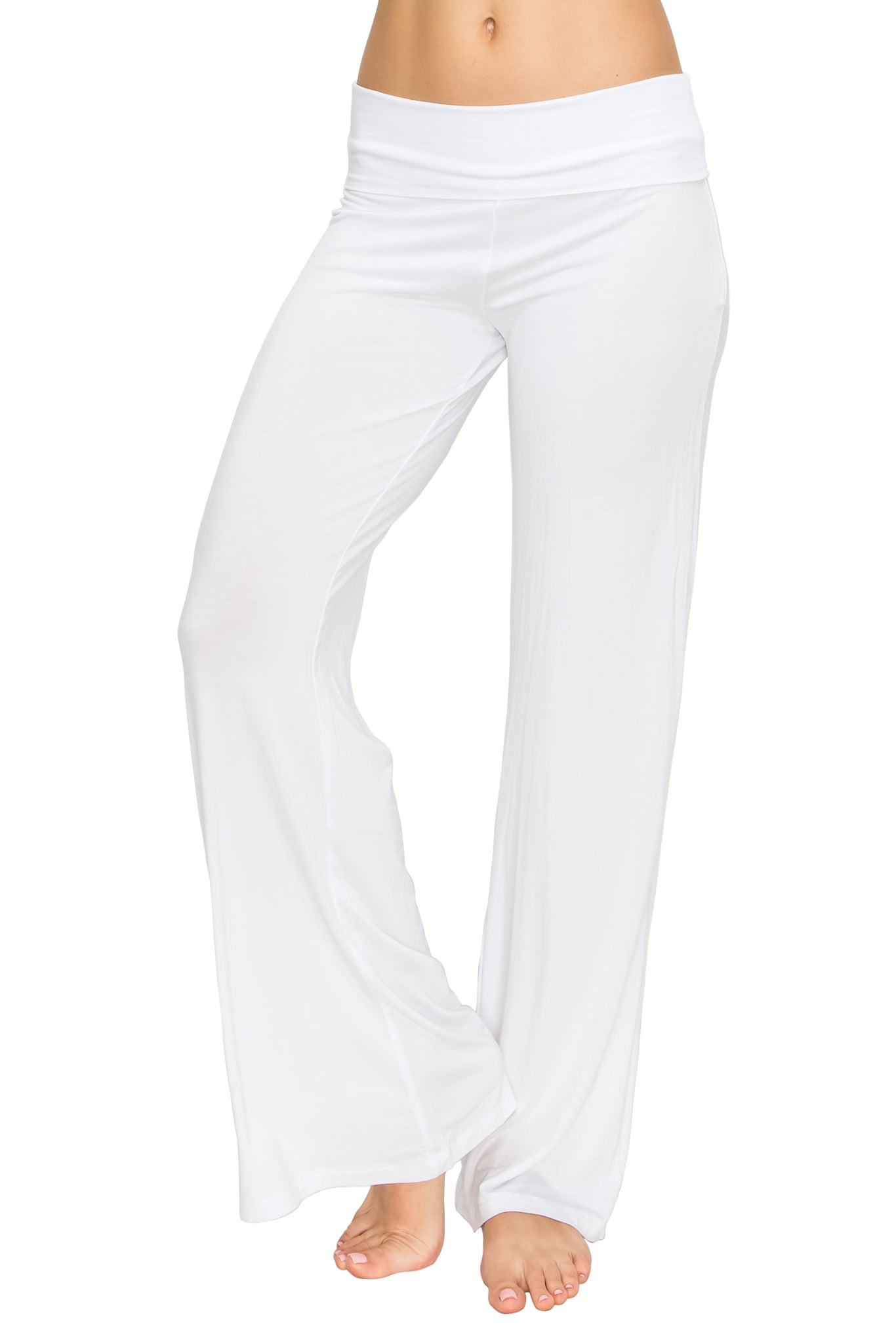 White Foldover Yoga Pants - Poplooks