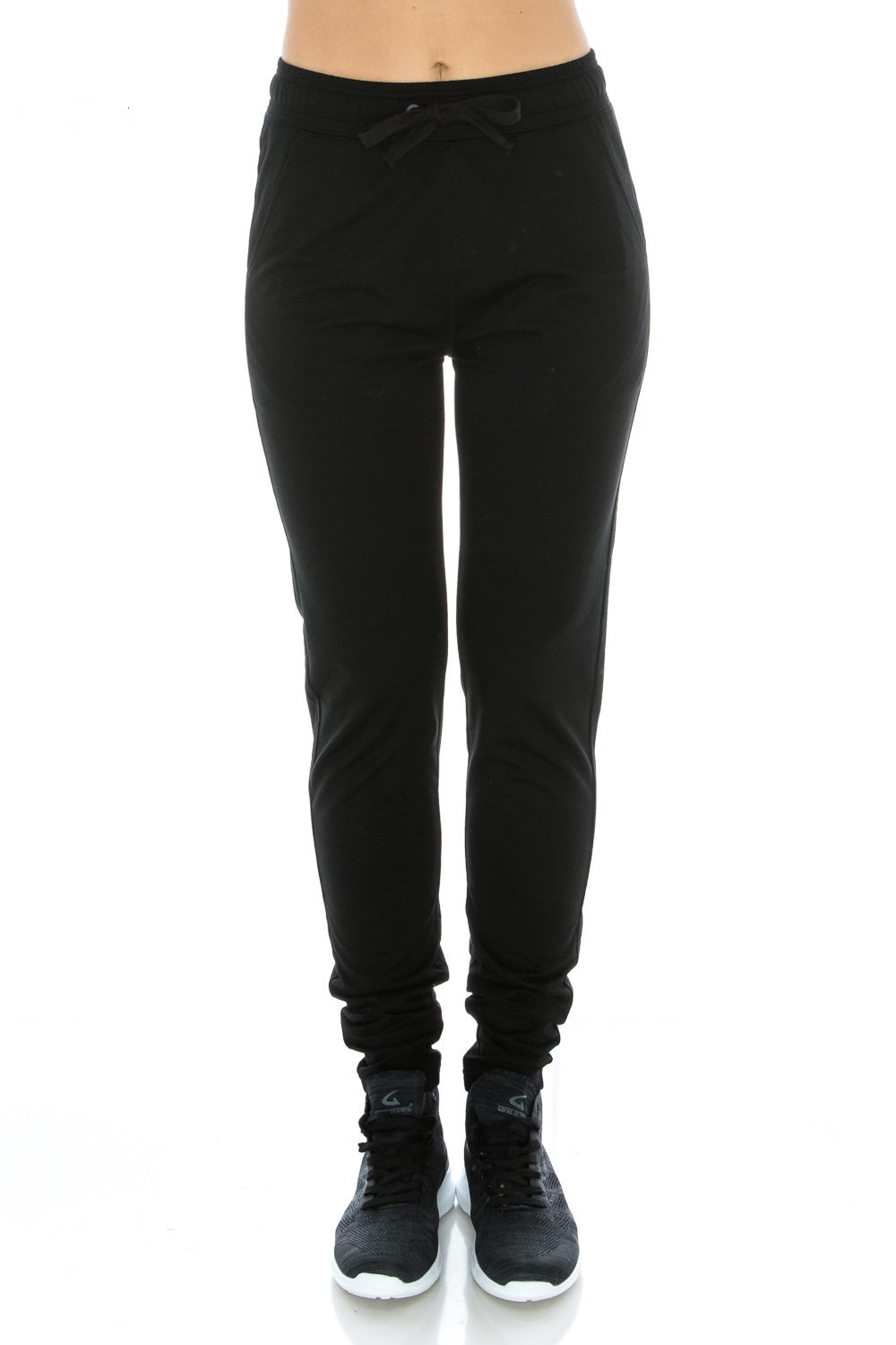 Black Fitted Unisex Workout Sweatpants - Poplooks