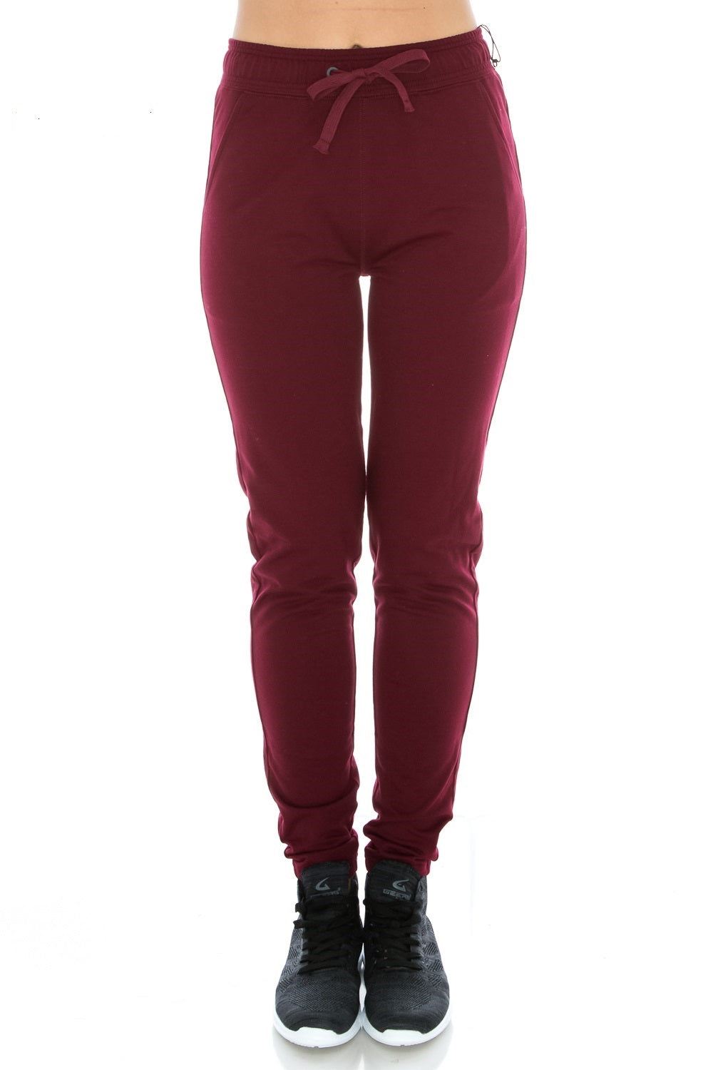 D. Burgundy Fitted Workout Yoga Sweatpants - Poplooks