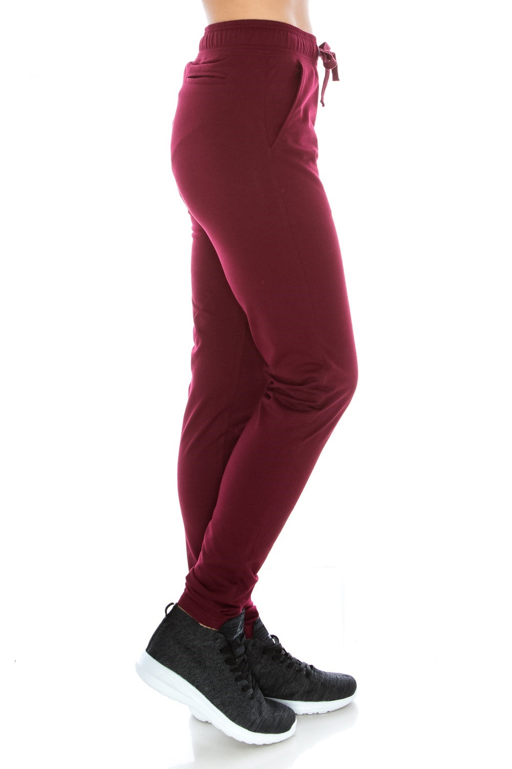 Burgundy Fitted Unisex Workout Sweatpants - Poplooks