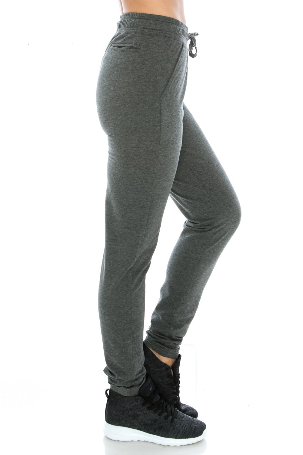 Charcoal Fitted Unisex Workout Sweatpants - Poplooks
