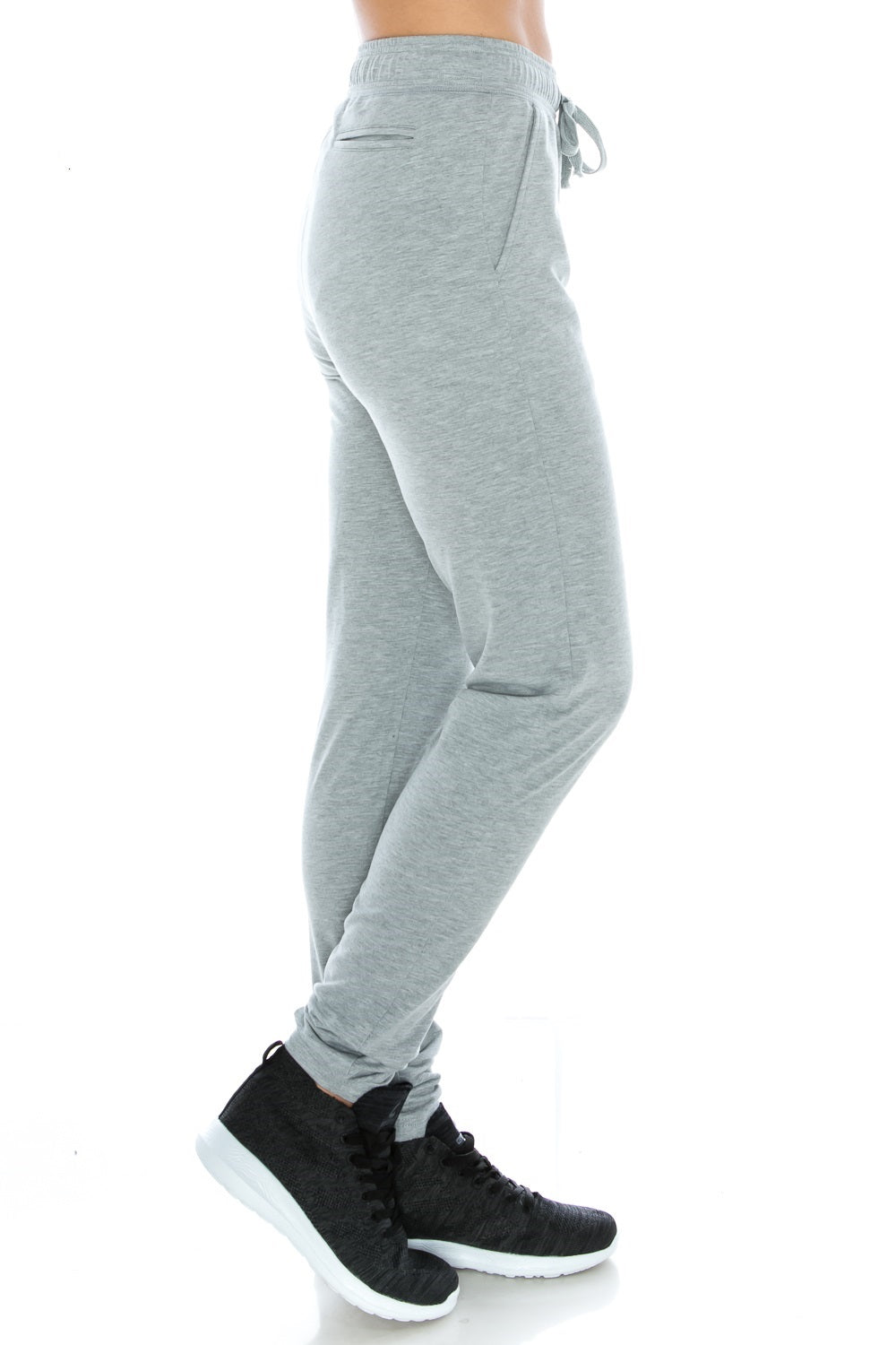 Gray Fitted Unisex Workout Sweatpants - Poplooks