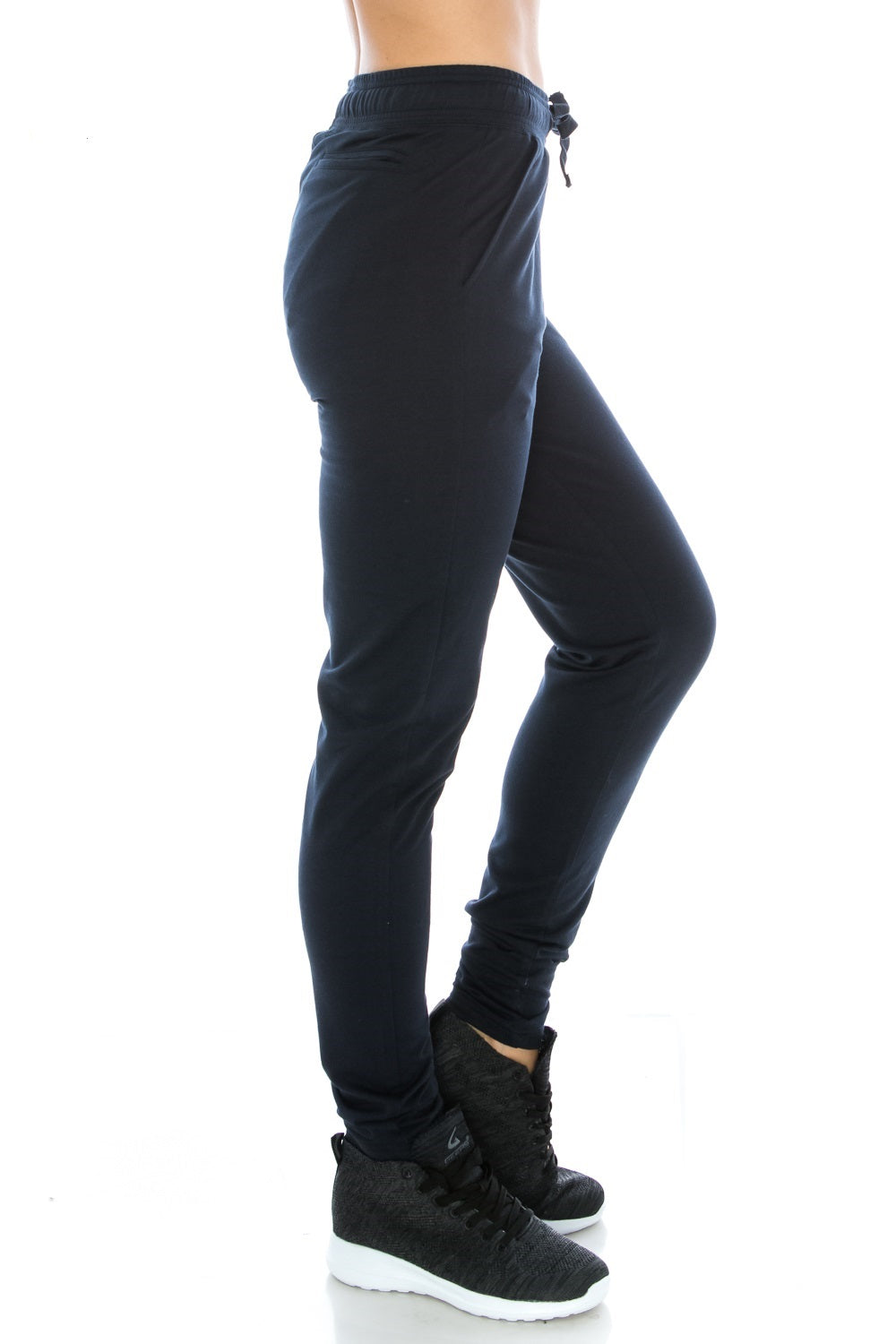 Navy Fitted Unisex Workout Sweatpants - Poplooks