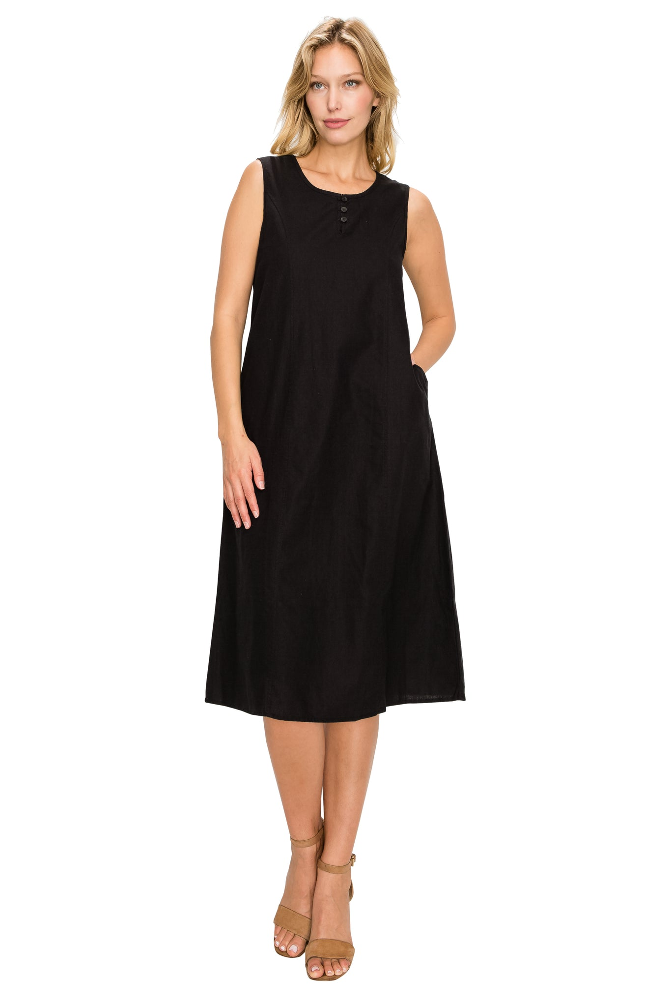 Black Linen Midi-Dress - Poplooks
