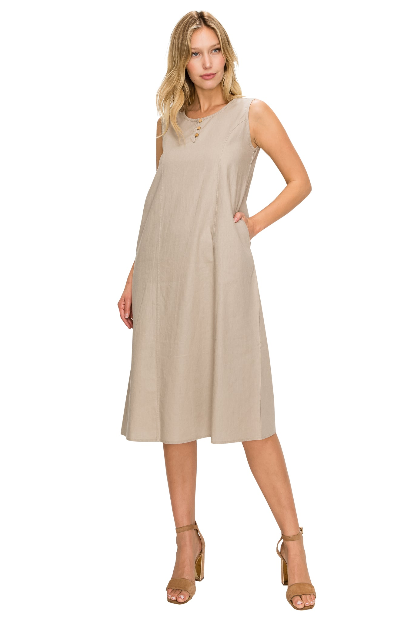 Natural Linen Midi-Dress - Poplooks