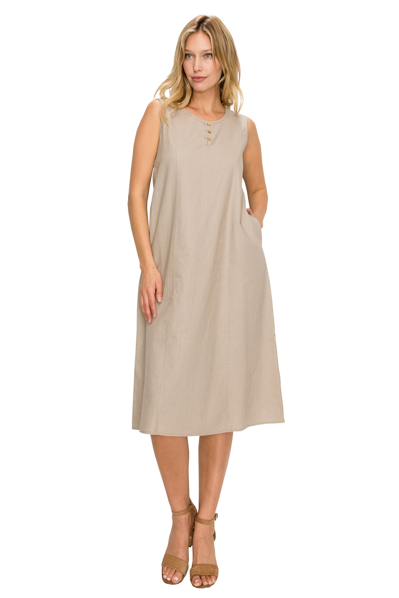 Beige Linen Midi-Dress - Poplooks