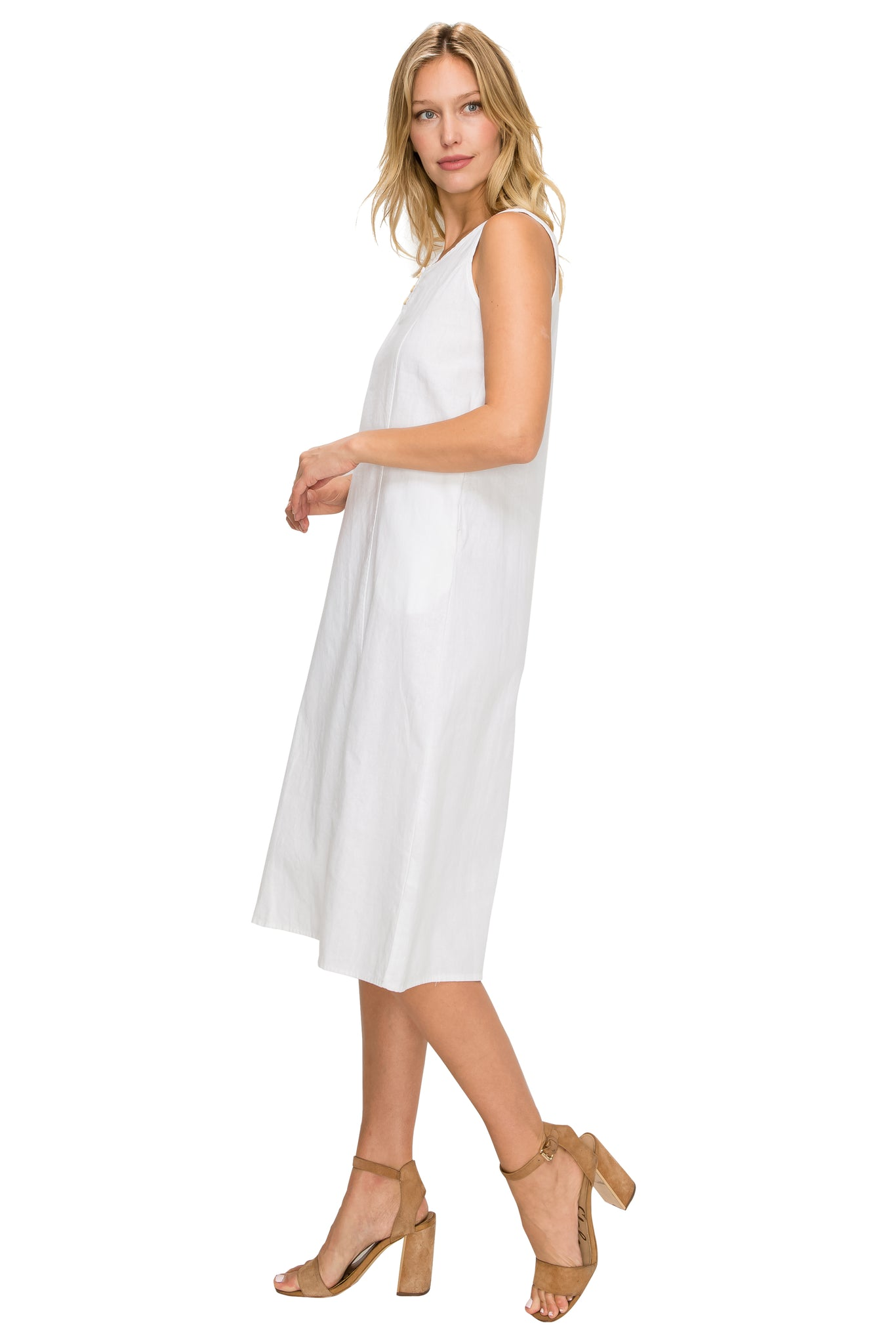 White Linen Midi-Dress - Poplooks