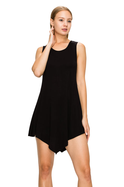 Black Sleeveless Tank Tunic