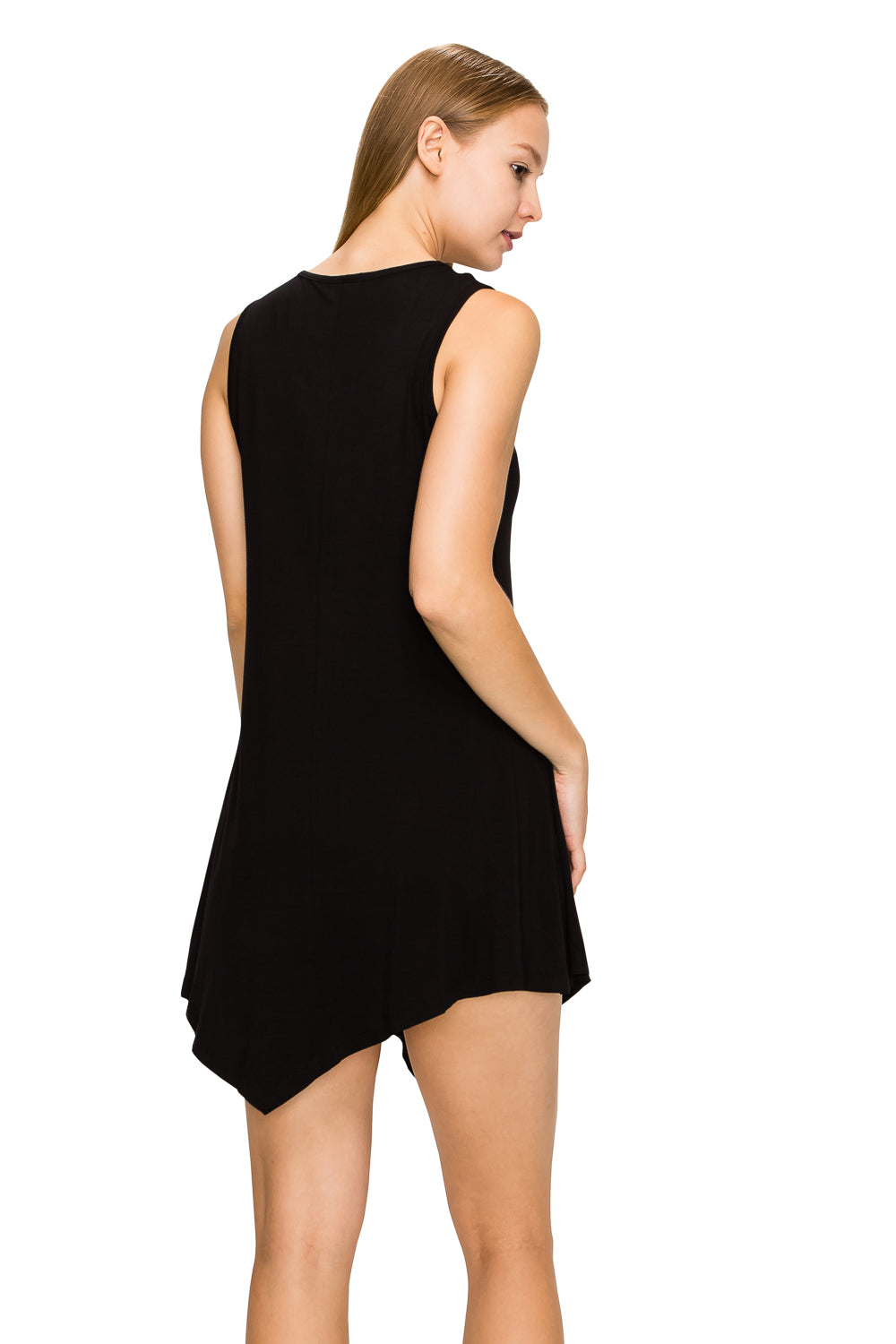 Black Sleeveless Tank Tunic - Poplooks