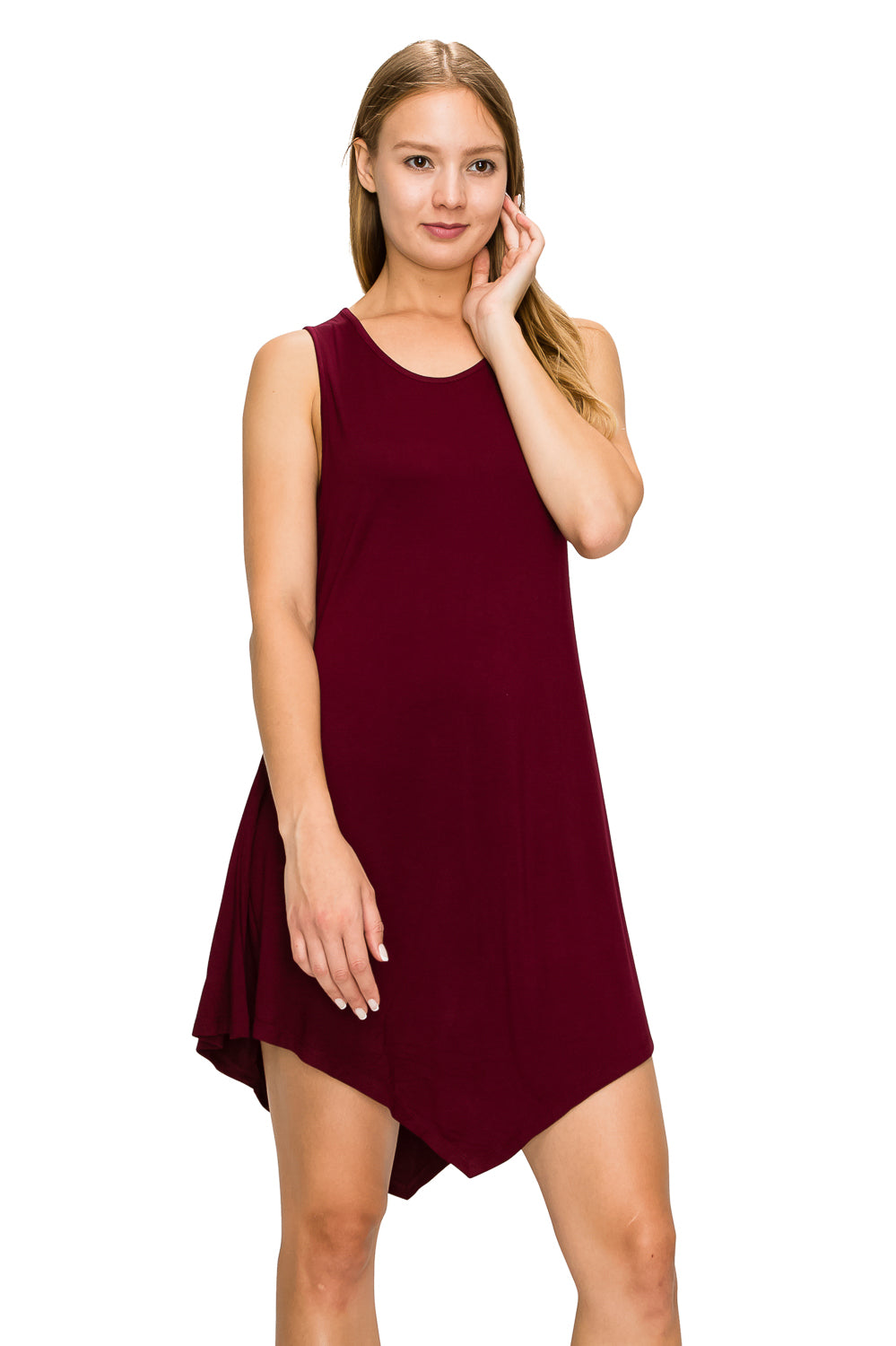D. Burgundy Sleeveless Tank Tunic - Poplooks