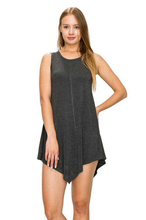 Charcoal Short Sleeve Rayon Tunic
