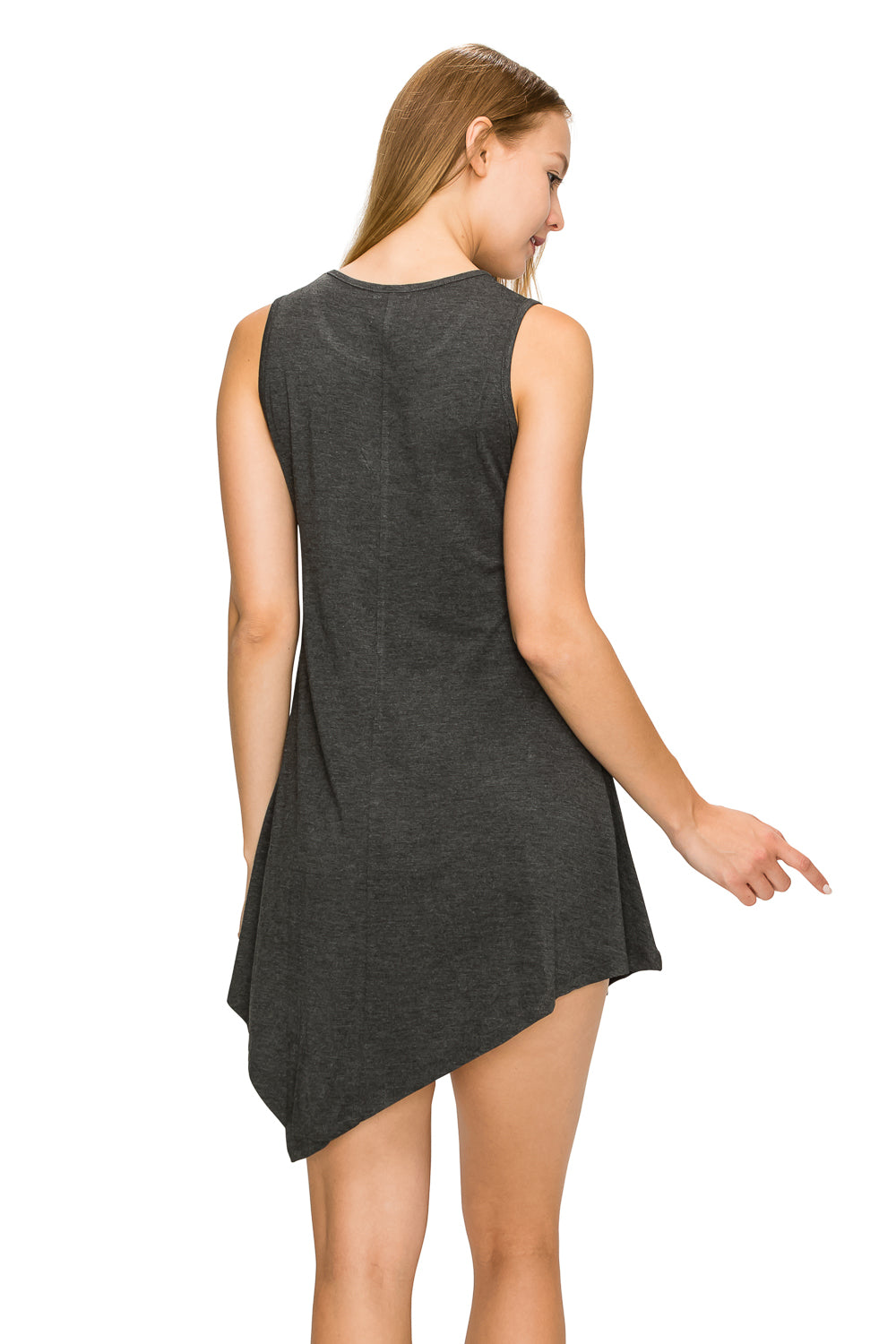 H. Charcoal Sleeveless Tank Tunic - Poplooks