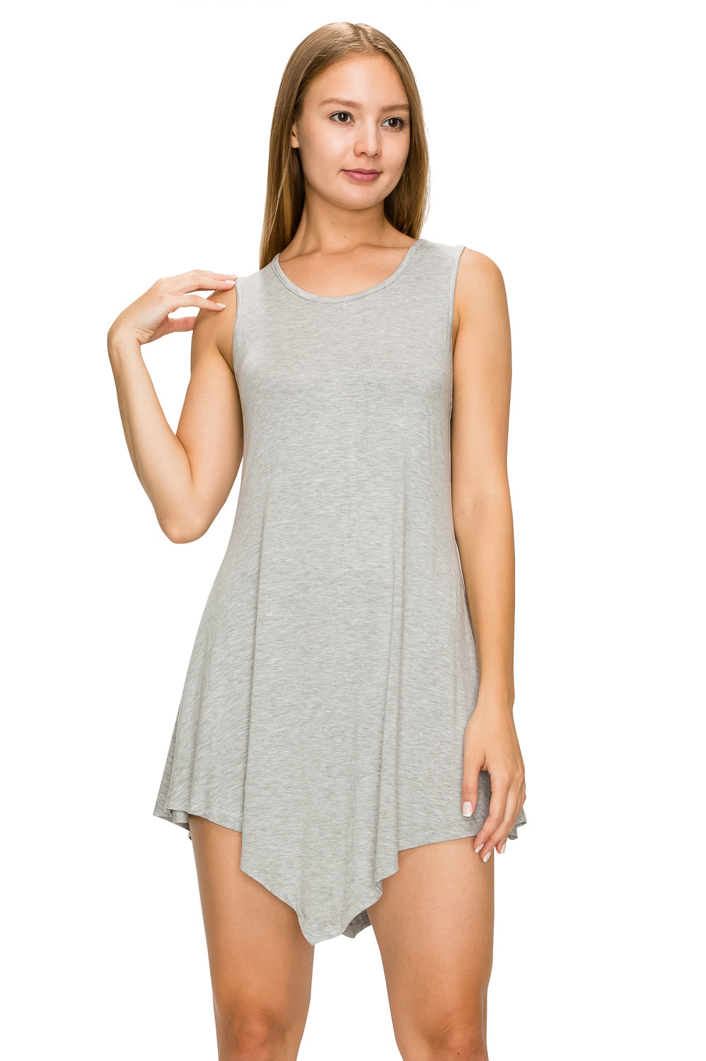 Gray Sleeveless Tank Tunic - Poplooks