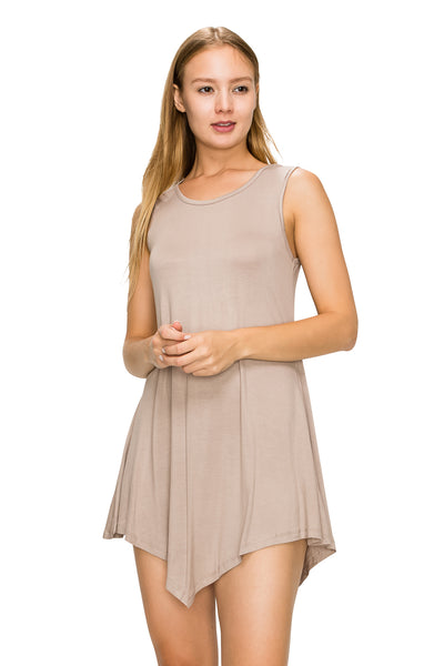 Khaki Sleeveless Tank Tunic - Poplooks