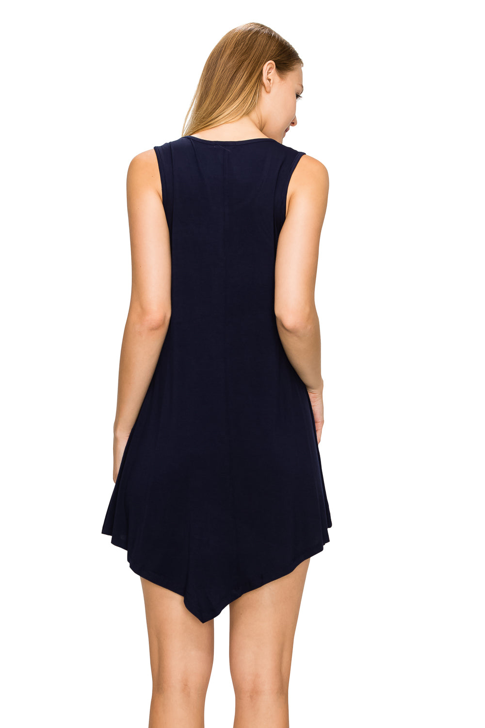 Navy Sleeveless Tank Tunic - Poplooks