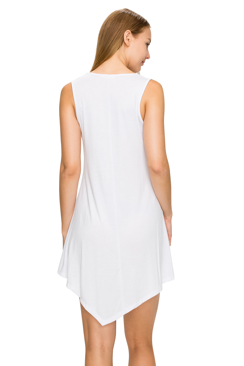 White Sleeveless Tank Tunic - Poplooks