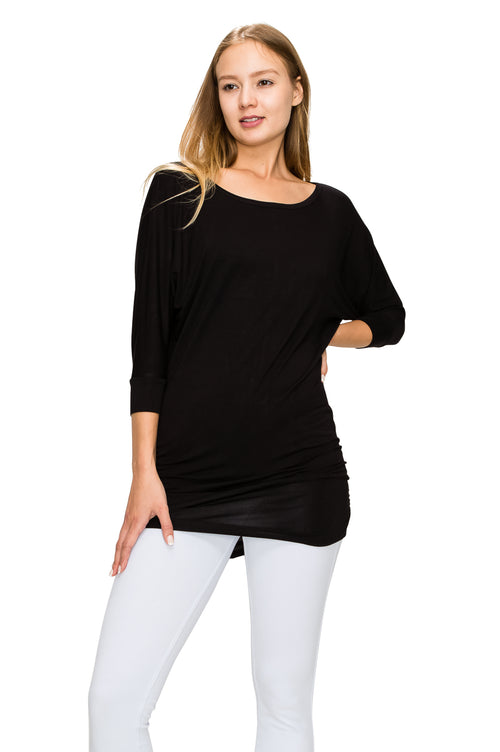 Black 3/4 Sleeve Tunic Top