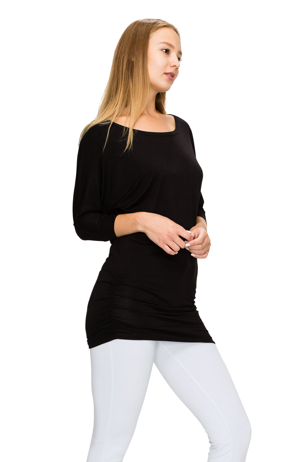 Black 3/4 Sleeve Tunic Top - Poplooks