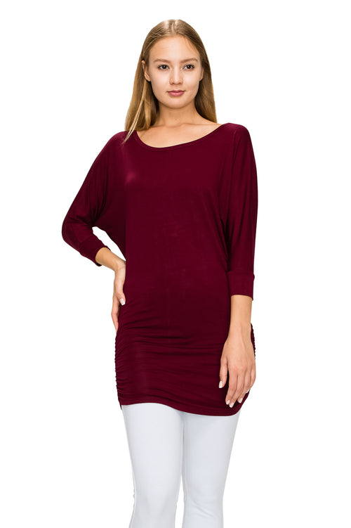 Burgundy 3/4 Sleeve Tunic Top