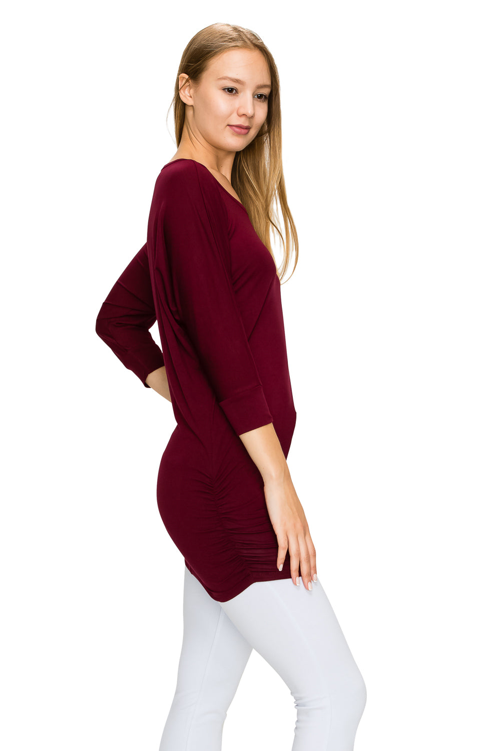 Burgundy 3/4 Sleeve Tunic Top - Poplooks