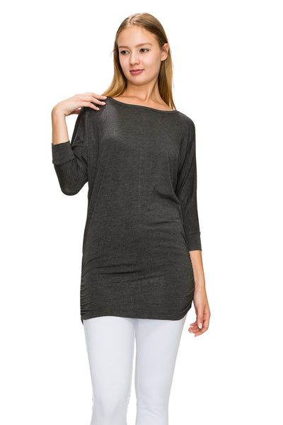 H. Charcoal 3/4 Sleeve Tunic Top - Poplooks
