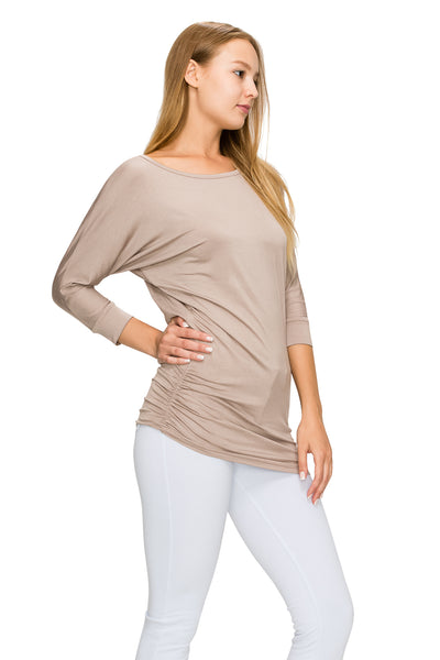 Khaki 3/4 Sleeve Tunic Top - Poplooks