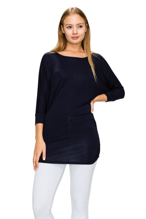 Navy 3/4 Sleeve Tunic Top