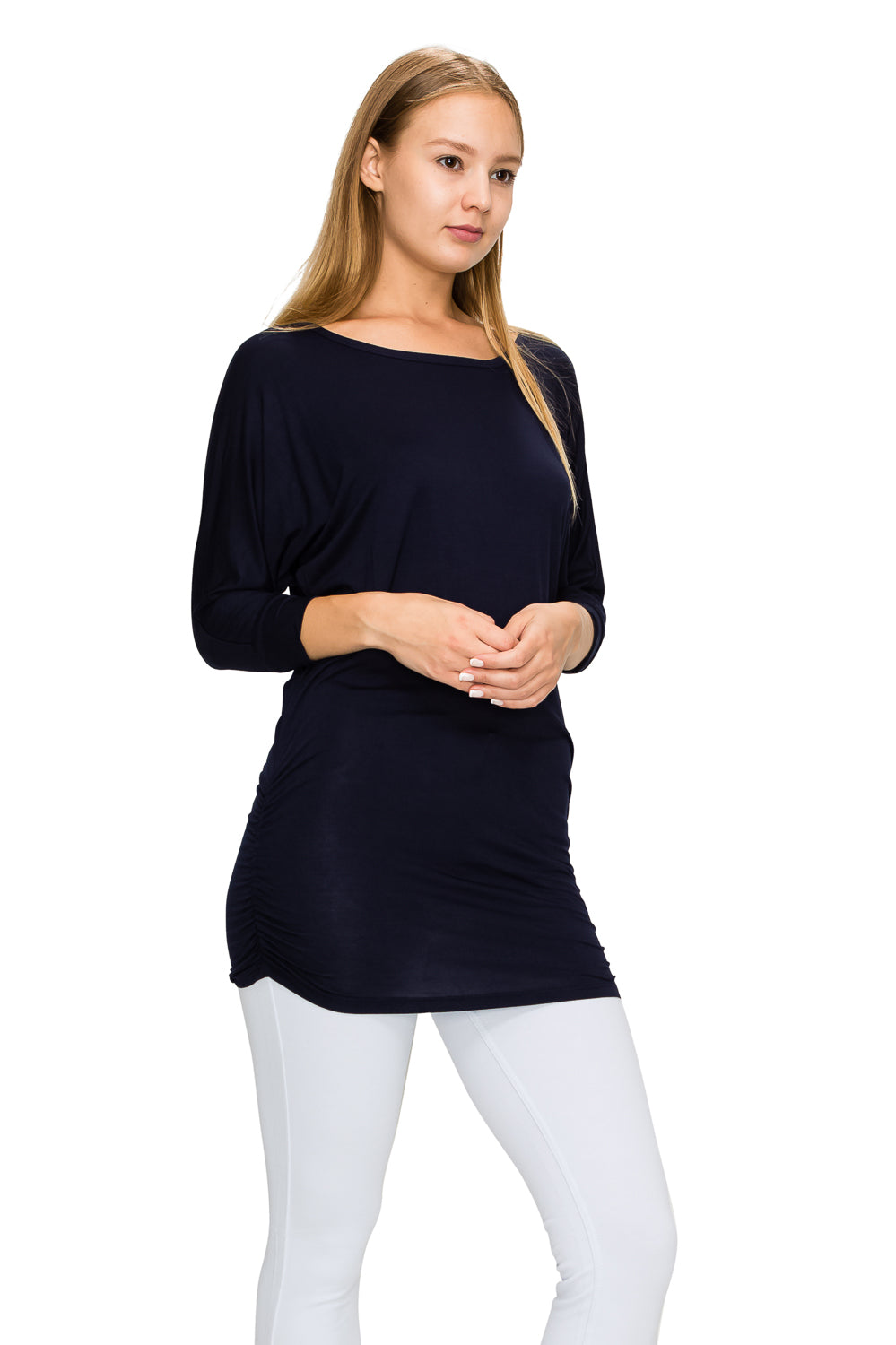Navy 3/4 Sleeve Tunic Top - Poplooks