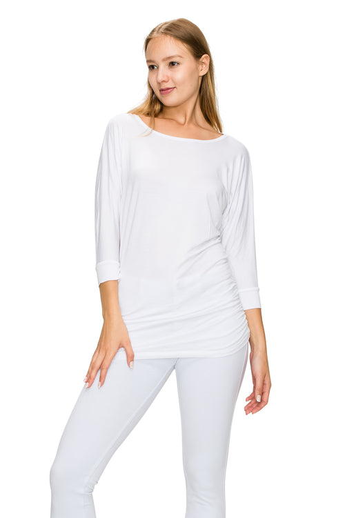 White 3/4 Sleeve Tunic Top