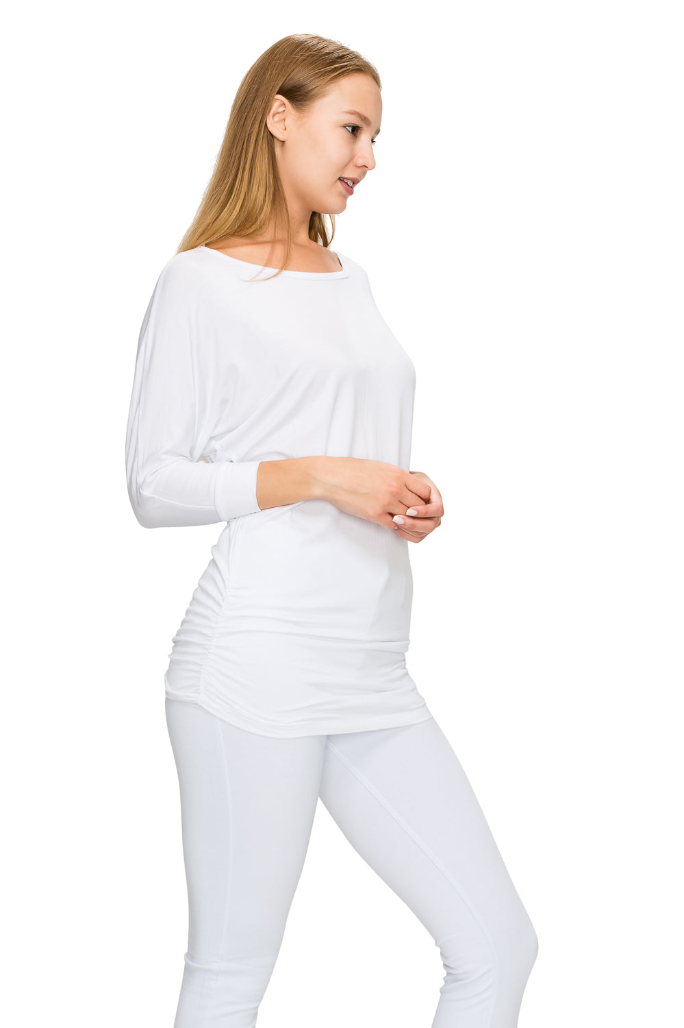 White 3/4 Sleeve Tunic Top - Poplooks