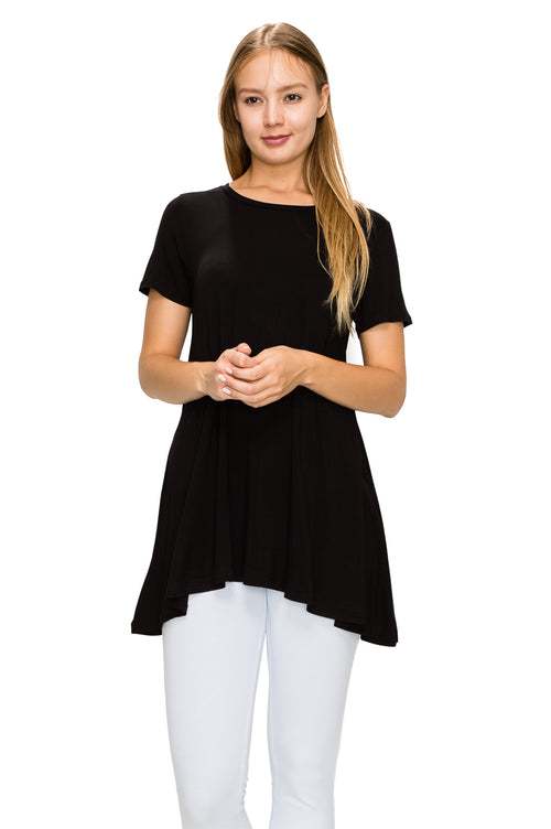 Black Short Sleeve Rayon Tunic