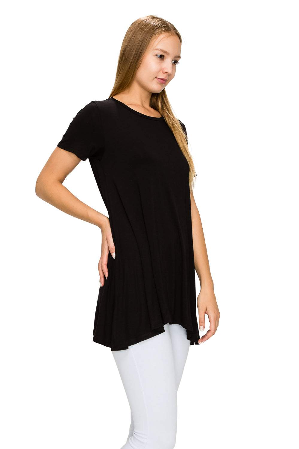 Black Short Sleeve Rayon Tunic - Poplooks