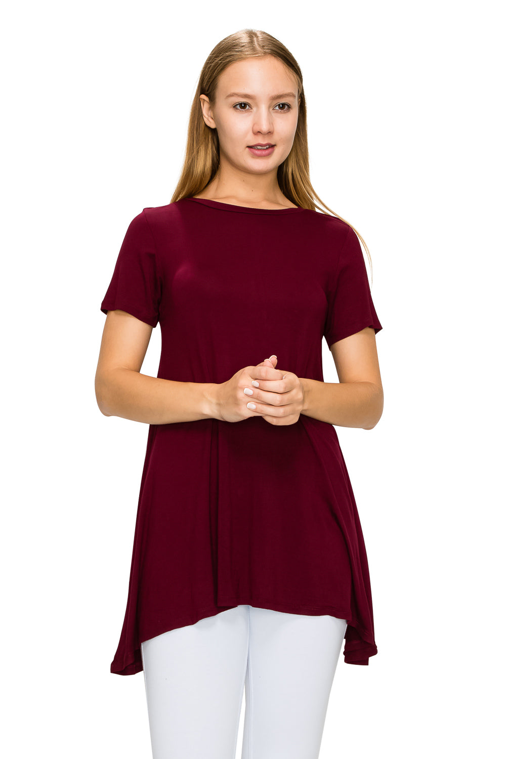 Burgundy Short Sleeve Rayon Tunic - Poplooks