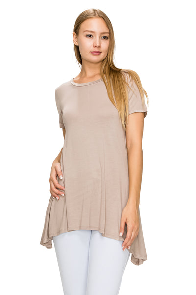 Khaki Short Sleeve Rayon Tunic - Poplooks