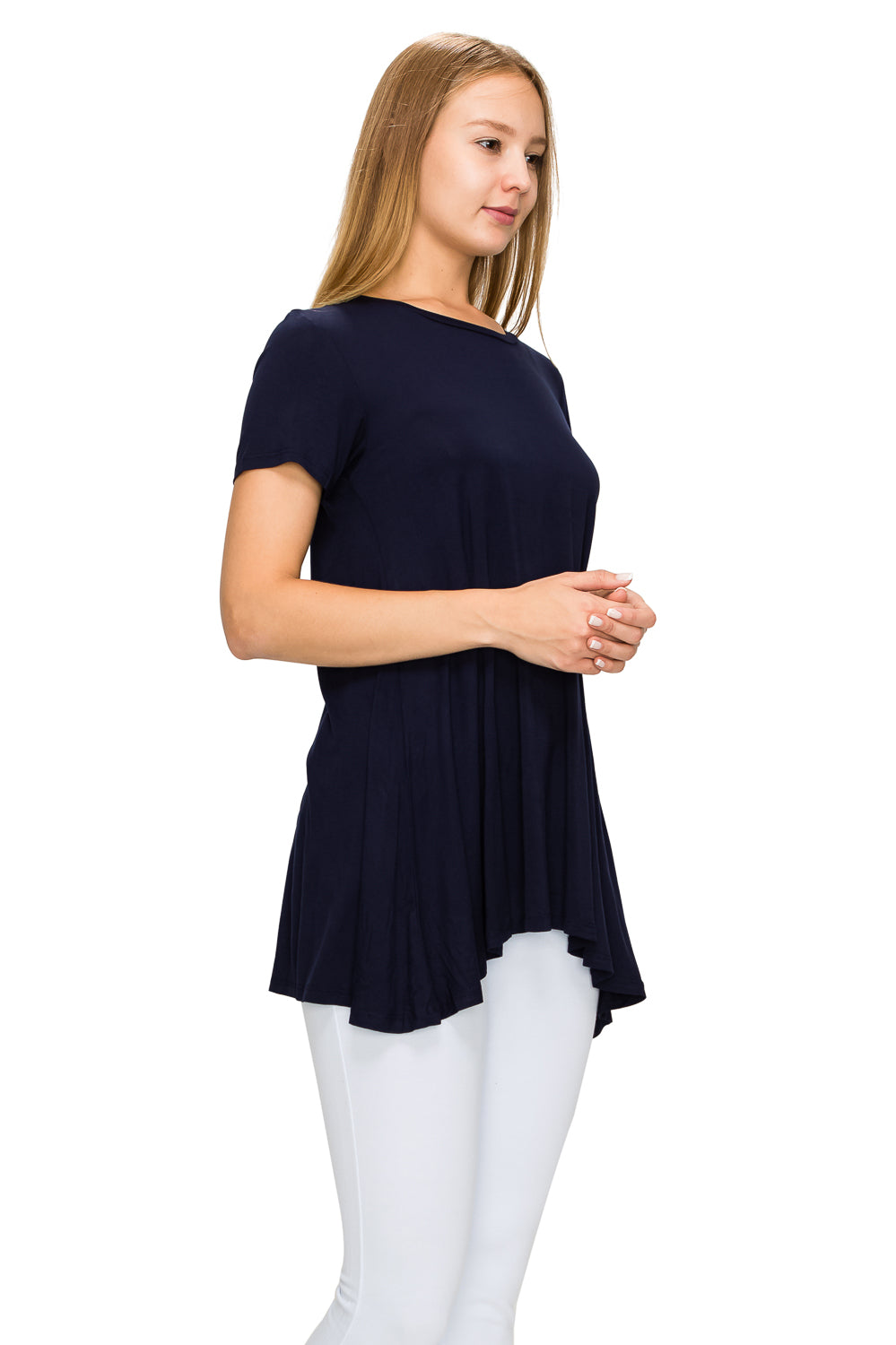 Navy Short Sleeve Rayon Tunic - Poplooks