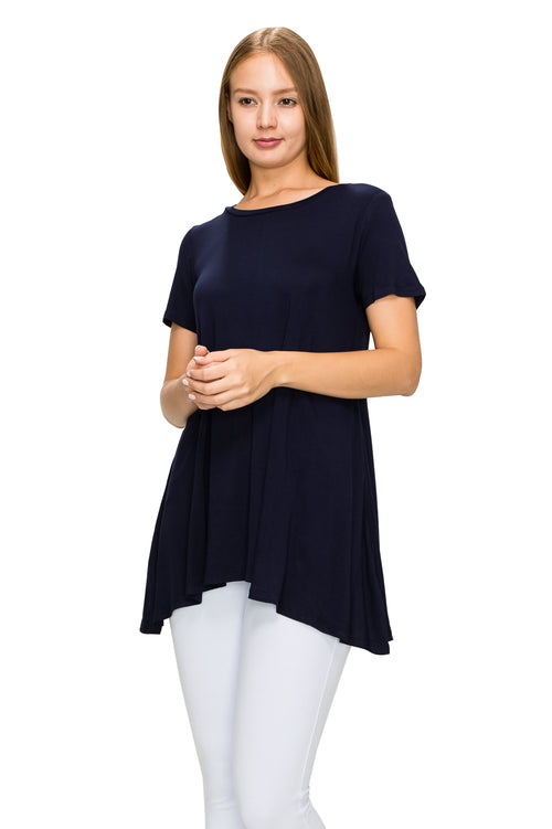 Navy Short Sleeve Rayon Tunic