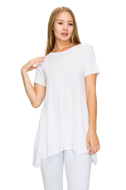 White Short Sleeve Rayon Tunic