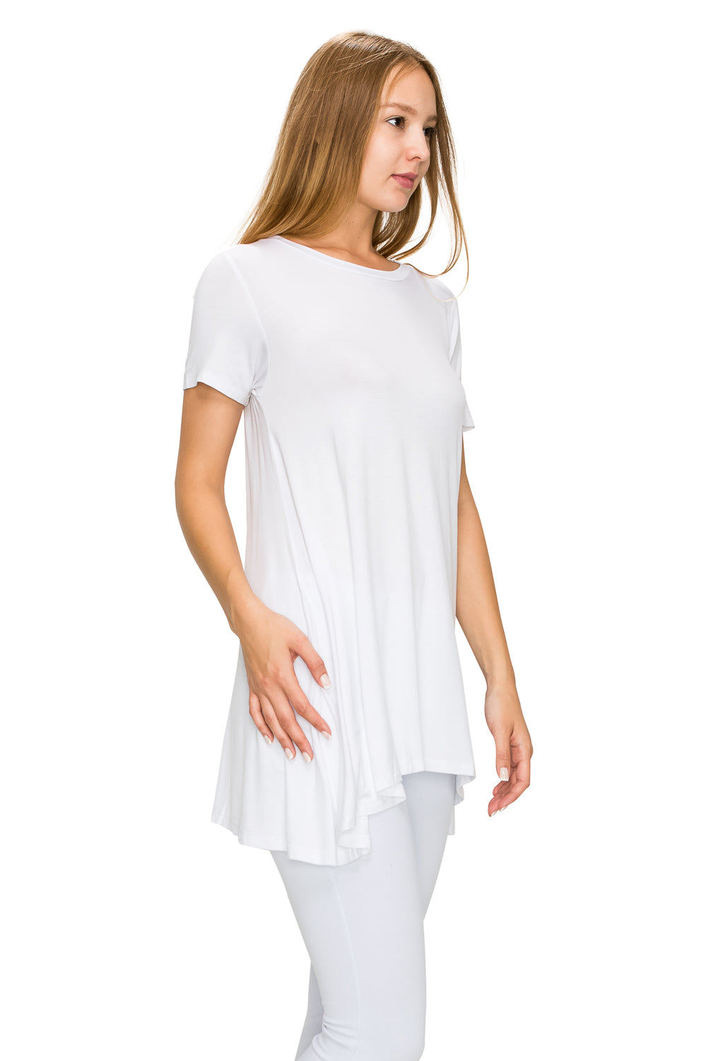 White Short Sleeve Rayon Tunic - Poplooks