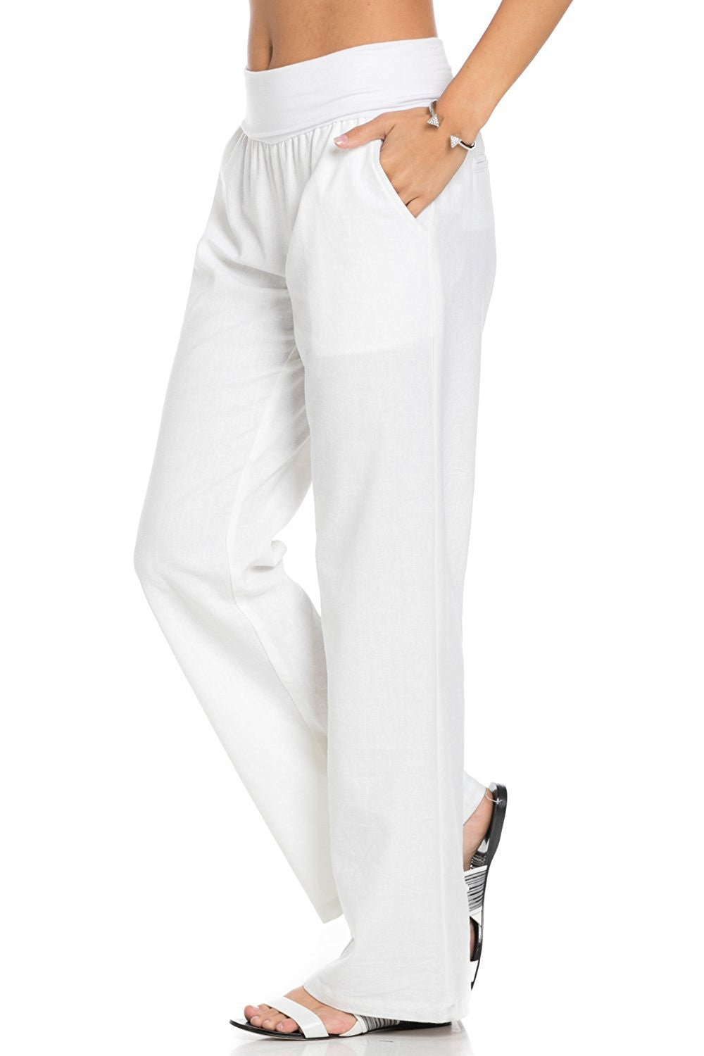 Comfy Fold Over Linen Pants (White) - Poplooks