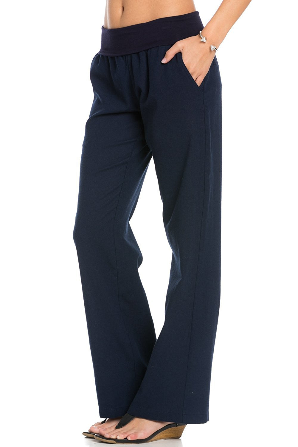 Comfy Fold Over Linen Pants (Navy) - Poplooks