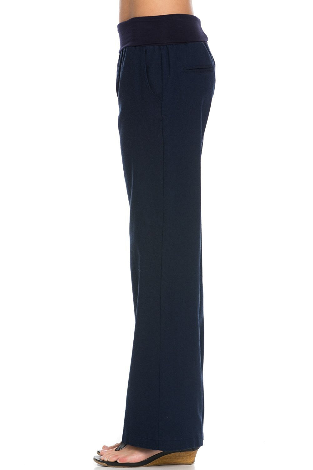 Comfy Fold Over Linen Pants (Navy)