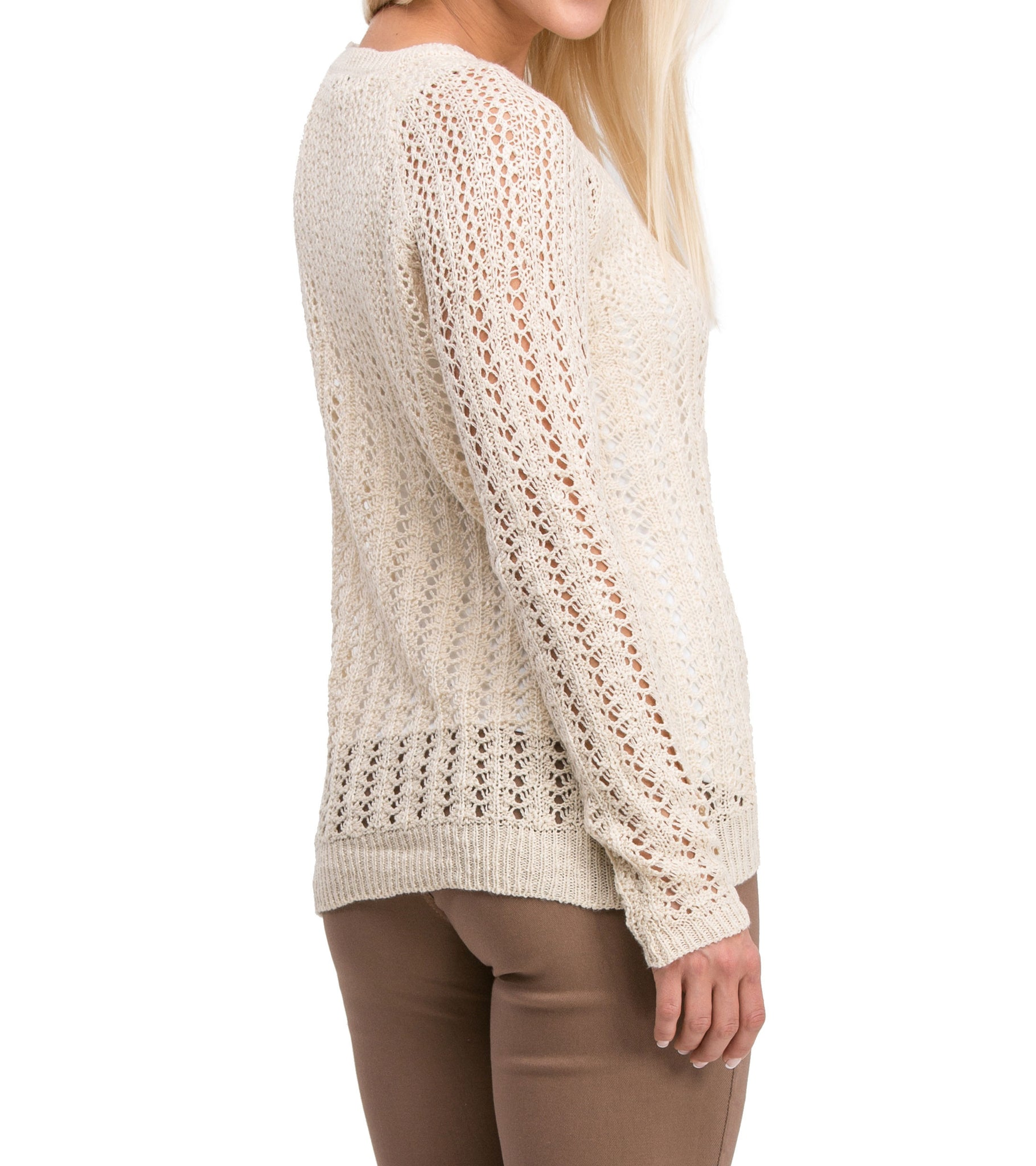 Casual Modern Long Sleeve Mesh Knit Crew Neck Sweater (Taupe) - Poplooks