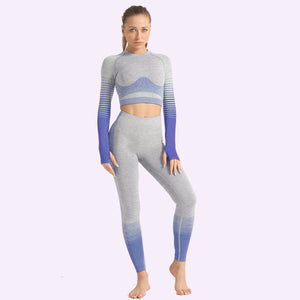 LANTECH Women Yoga Sets Gym Fitness Athletic 2 Pcs Sports Suits Set Pants Leggings Sportswear Leggings Seamless Sports Shirts
