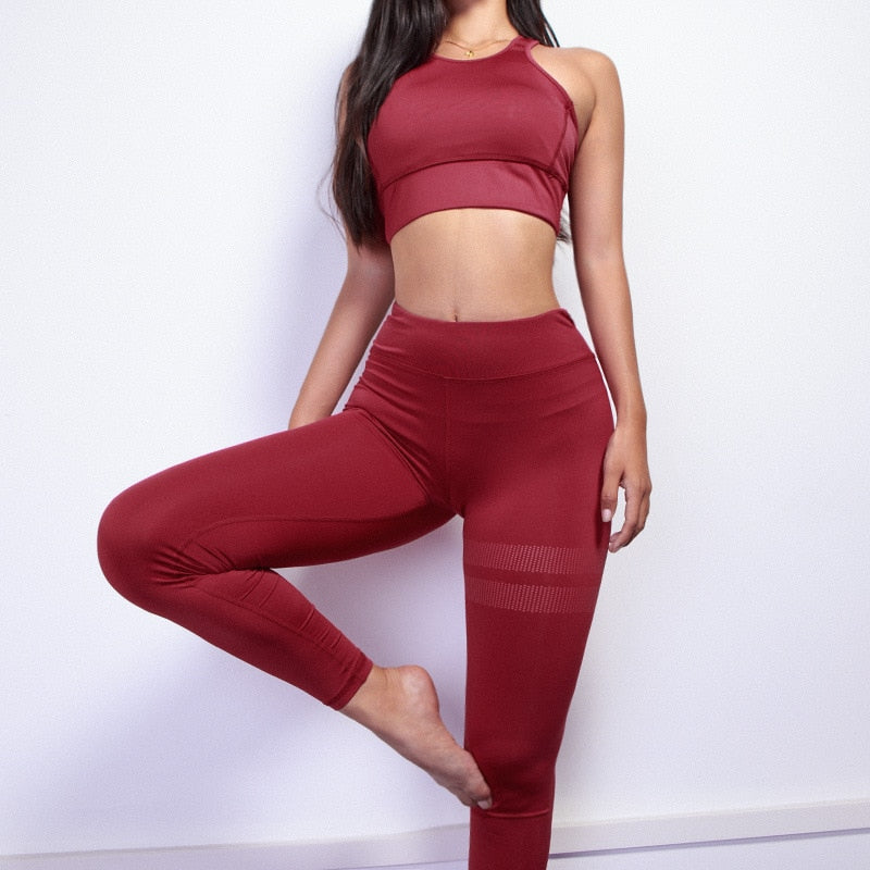 Women sport Suit Gym Yoga Sets 2 Pieces Women Sportwear Yoga Set Fitness Sportwear Workout Set Fitness Yoga Wear
