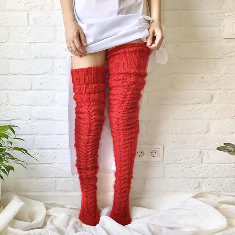 Over the knee knitted socks