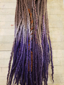 Double Ended Dreadlock set of 20 Chocolate Lavendar