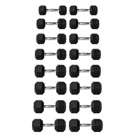 Zion 460LB Rubber Hex Dumbbell Set