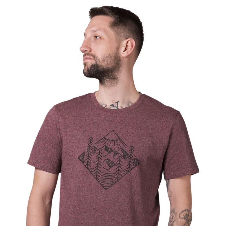 "Ecolodge | T- Shirt ""Forest"" black heather cranberry"