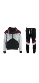 Load image into Gallery viewer, Burgundy Colorblock Sweatsuit
