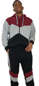 Burgundy Colorblock Sweatsuit